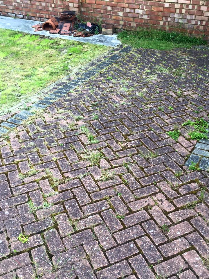 Block Paving with weeds